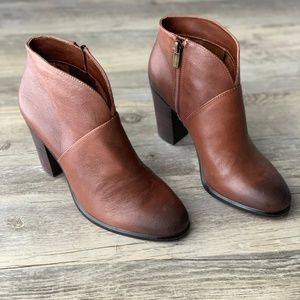 Vince Camuto Brown Leather Stacked Heel Bootie